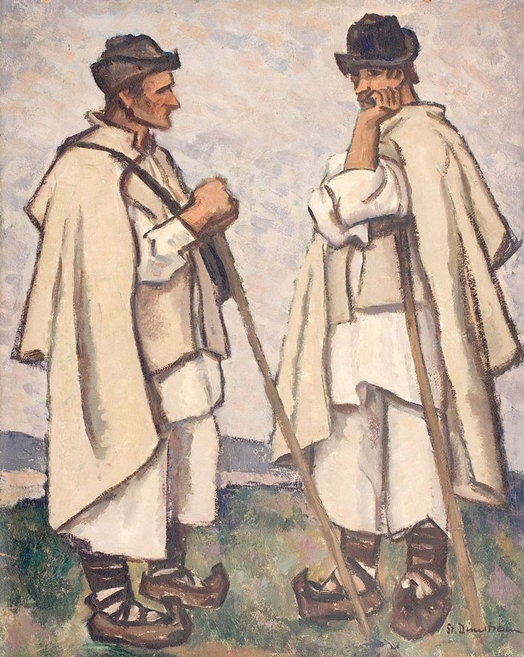 Ștefan Dimitrescu, Sfat - ulei pe carton, 60.50 × 49.50 cm, semnat dreapta jos, cu negru, St. Dimitrescu