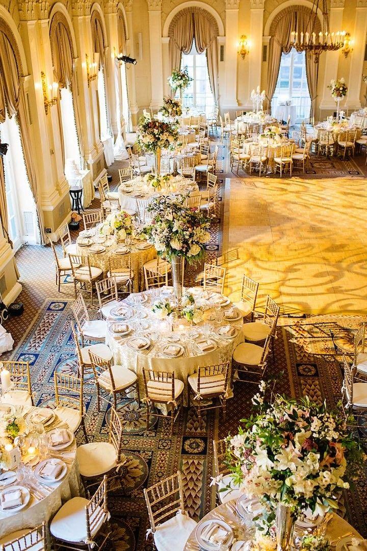 photo: Lilian Haidar Photography; Gorgeous ballroom wedding reception idea;