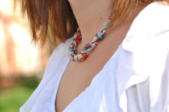 OOAK red ceramic jewelry colorful necklace artistic by zolanna