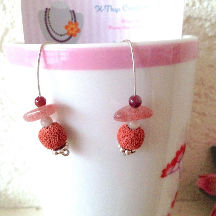 Boucles d'oreilles Bohème, forme crochet, pierre de lave, perle pierre Tourmaline, pierre chips Quartz Hématite : Boucles d'oreille par k-thys-creations-bijoux