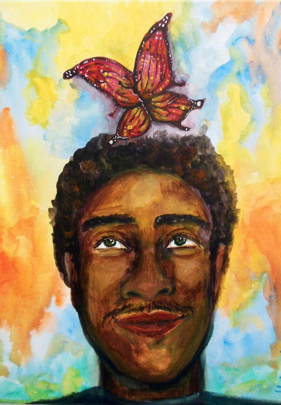 Original Painting  Acrylic on canvas  Butterfly Boy