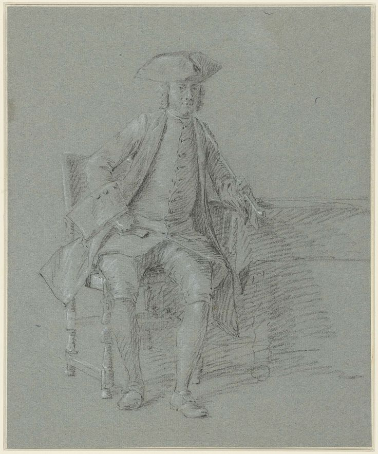 Man met steek met lange pijp in de rechterhand, zittend aan tafel, anonymous, 1700 - 1800