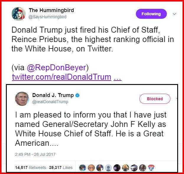 #MT @SaysHummingbird Donald Trump fired Reince Priebus on Twitter.