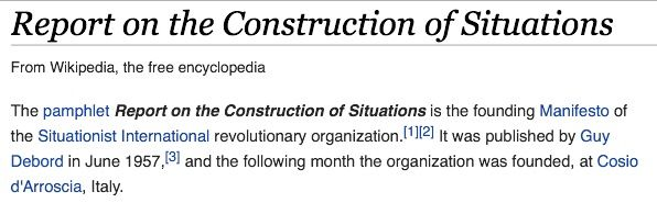 Construction of situations - Guy Debord