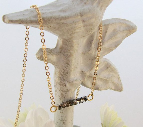 Tiny Faceted Iridescent Smokey Grey Glass Bead Bar Pendant Gold Chain Necklace - Perfect to layer!
