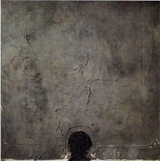Forma negra sobre quadrat gris, 1960 Forma negra sobre cuadrado gris Procedimiento mixto sobre tela  162 x 162 cm