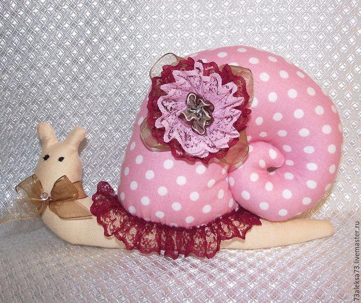Купить Милена Улитка-Тильда - розовый, милена, улитка Тильда, подарок, розовая в горошек