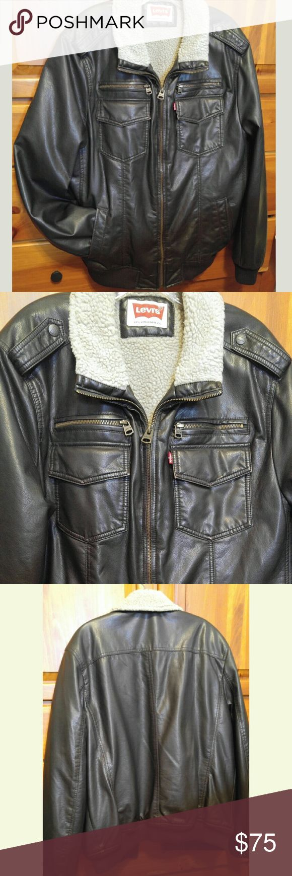 Mens Levi  Bomber Jacket Sherpa lined, immaculate faux leather jacket.  Hip Length.  Realistic grains, not too shiny or too dull. Feels good and warm. This is a total winner.  Thank you for shopping with us Levi's Jackets & Coats Bomber & Varsity