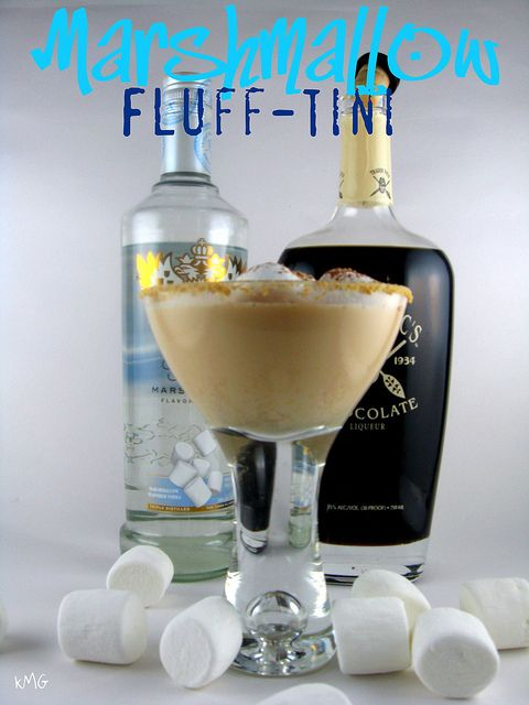 Marshmallow Fluff-Tini (•1.5 ounces marshmallow vodka, plus some for rimming   •.5 ounces chocolate liqueur   •1 ounce cream   •graham crackers, cocoa powder and marshmallows, optional)    then top with a spoonful of Bacardi 151 and light on fire to melt marshmellows!