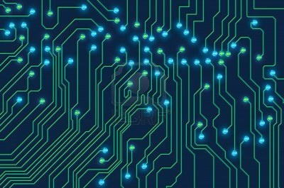 high technology printed circuit board with glowing LED lights Stock Photo