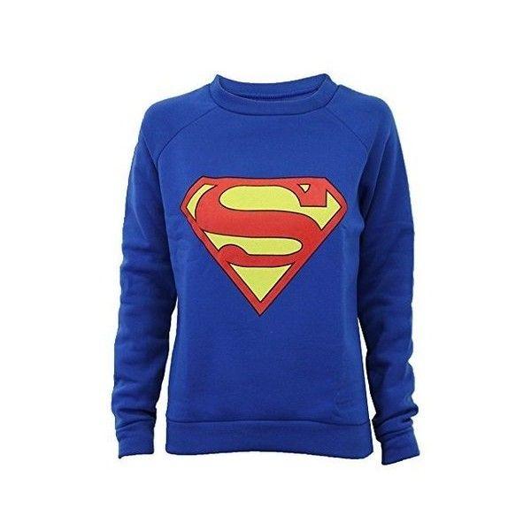 Ladies Sweatshirt Womens Top Jumper Batman Superman Logo Print Fleece... ($5.52) ❤ liked on Polyvore featuring tops, hoodies, sweatshirts, superman sweatshirt, fleece tops, blue sweatshirt, blue top and fleece sweatshirt