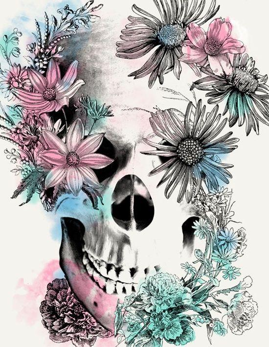 skull / flowers / blue / pink / white / illustration