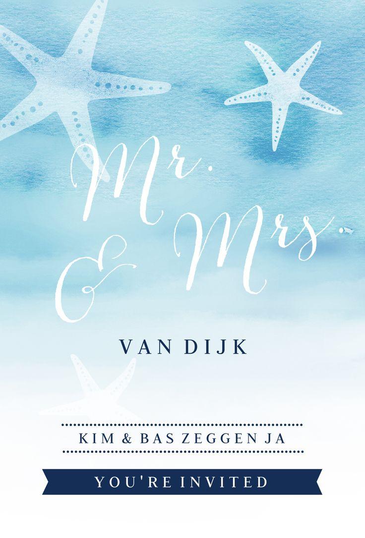 #strand #zee #schelpen #sea #trouwkaart #trouwuitnodiging #trouwen #bruiloft #wedding #bruid #huwelijk #bruidspaar #beach #zeester #watercolor