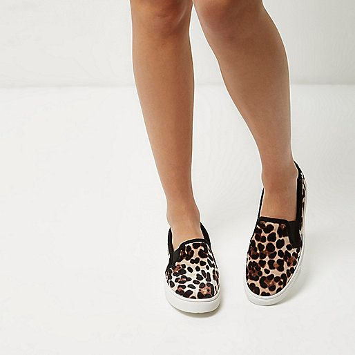 Leopard print velvet Round toe Black trim Elasticated inserts Chunky white sole Also available in Wide Fit