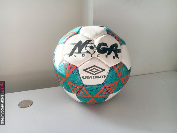 Incredibly Early #90s Mini Umbro Soccer Ball  Soft self Inflatable ball says Noga Soccer on front and measures 17 inches across.   Ball is in good condition w. some general ... #kid #miniature #neon #colorful #sports #basketball #80s #1980s #diamonds #umbro #soccer #soccerball #vintagesoccerball #noga