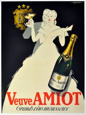 Veuve Amiot, 1936 - original vintage Art Deco champagne advertising poster by Robert Falcucci listed on AntikBar.co.uk