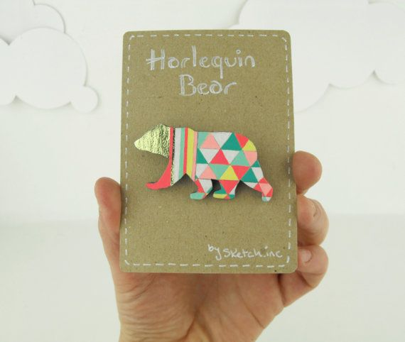 Geometric Bear Brooch Neon 'Harlequin Bear' by SketchInc on Etsy