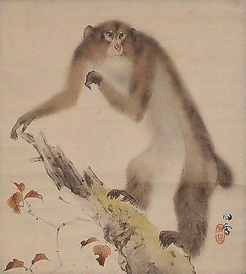 #9281 Japanese Tea Ceremony Scroll: Monkey by Hashimoto Kansetsu