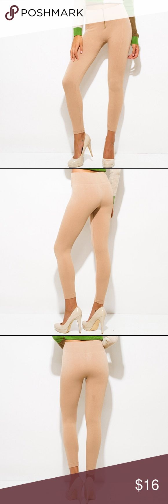 Beige Leggings Beige Fleece Lined Golden Zipper High Waist Leggings Pants Leggings