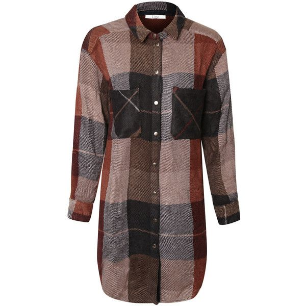Devoted Fall Plaid Button-Up Tunic ($30) ❤ liked on Polyvore featuring tops, tunics, long plaid tunic, long tunics, dex, plaid tunic and button up tunic