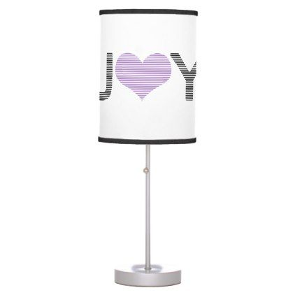 Joy - heart - black and purple. table lamp - typography gifts unique custom diy