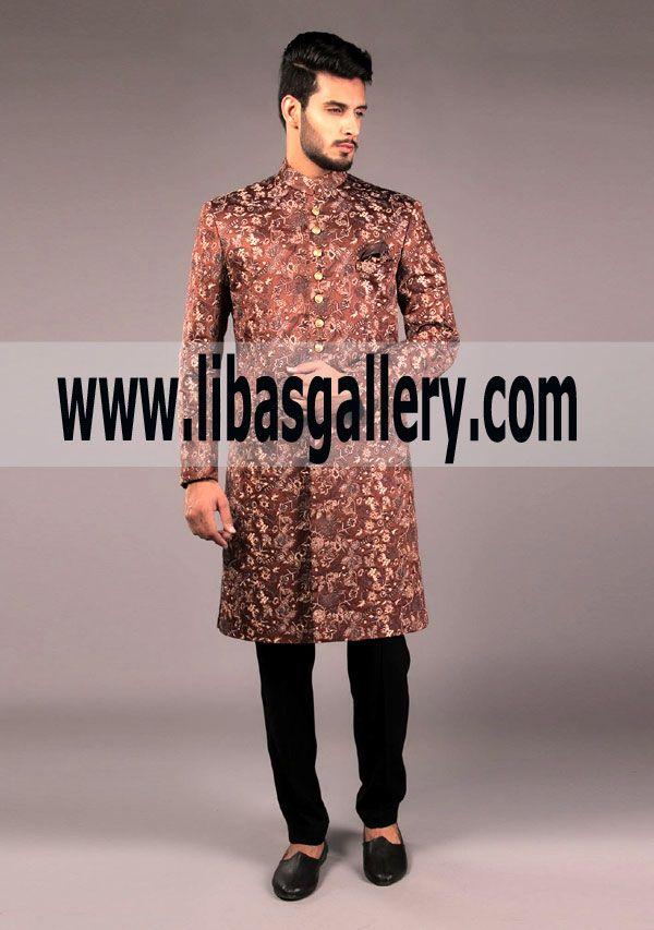 Amir Adnan Wedding Sherwani New Invention Satin Fabric Sherwani Collection By Designer In Vast Colors Dubai Uae Abu Dhabi Wedding Sherwani Sherwani Satin Fabric