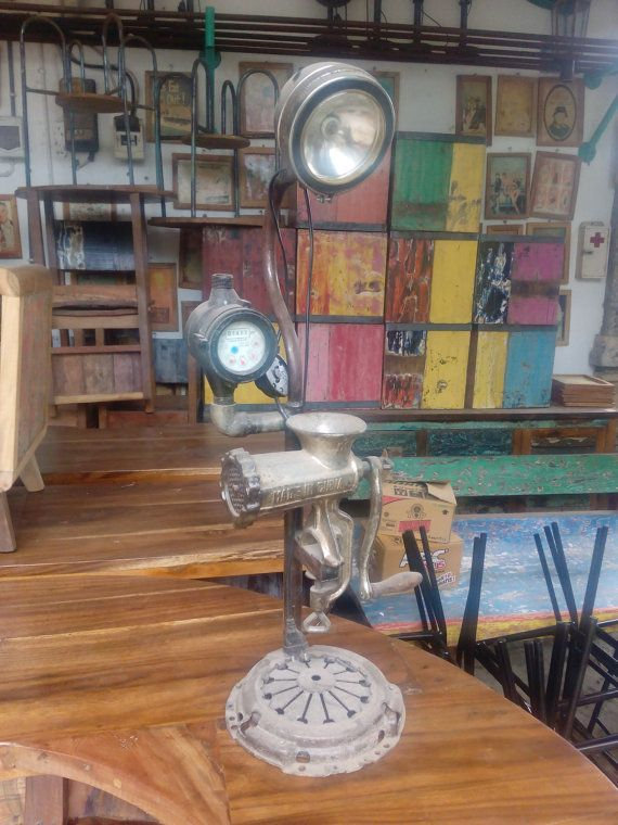 Vintage handmade lamp.  This object is made from recycle old item found in flea market and antiquity store. As you can see the shape of the