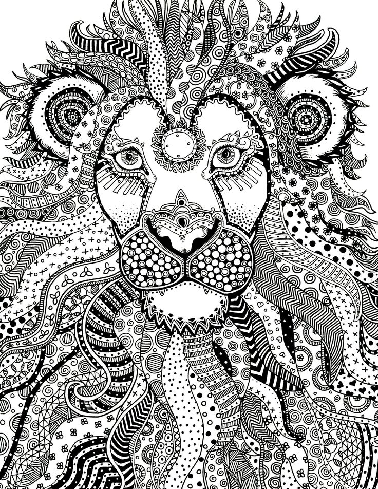 Majestic Lion Zentangle Traditional Ink On Bristol Janelle Dimmett 2016 Animal Coloring PagesAdult ColoringColoring BooksTraditional