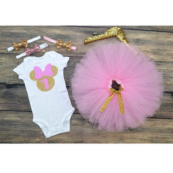 Minnie Mouse 1st Birthday Pink Gold Minnie por GABYROBBINSDESIGNS