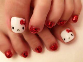 Hello Kitty Gel Toe Nails. O Spa Kelowna