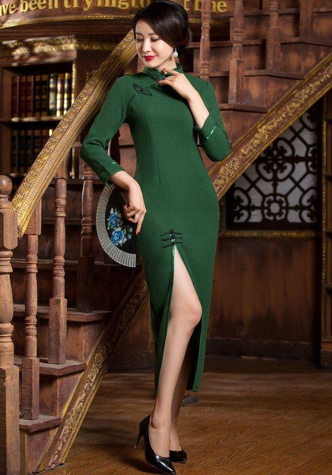 Sexy Dark Green Wool Long Sleeve Tea Length Cheongsam Evening Gown - iDreamMart.com