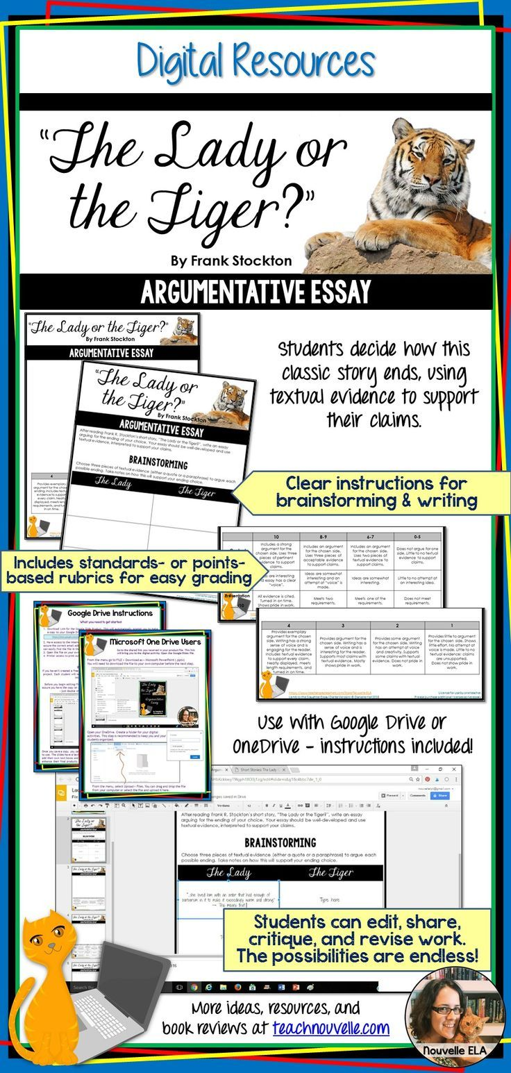 """Enrich your study of Frank Stockton's """"The Lady or the Tiger?"""" with this digital writing activity. Students write an argumentative essay to support their chosen ending. They must incorporate textual evidence with citations to back up their claims. (grades 7-10)"""