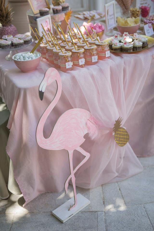 Pink Flamingo Treat Cupcake Stand Birthday Party TABLE DECORATION Beach Luau