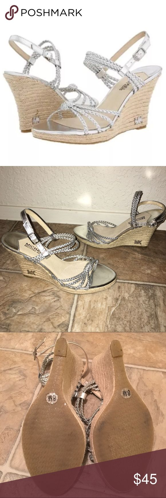 """Michael Kors Palm Beach Braided Silver Espadrilles only worn once, these silver beauties are calling your name for the summer! triple strands with an ankle strap. scratches on the insoles are the only flaws. MK logo on the heel. 4"""" heel Michael Kors Shoes Espadrilles"""