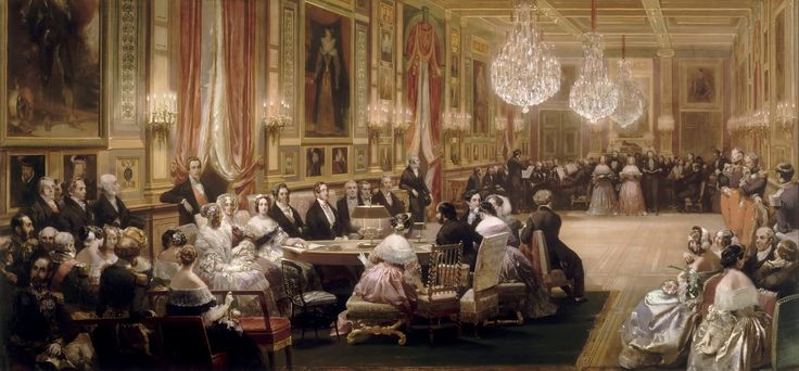 Eugene Louis Lami - Concert in the Gallerie des Guise at Chateau d'Eu   by irinaraquel