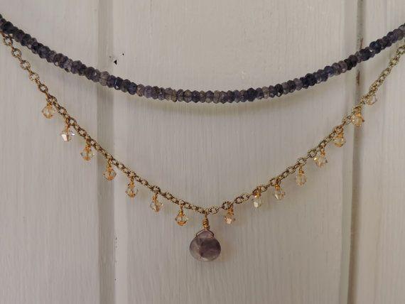 Iolite beaded chocker with swaorvski crystal by twinflowersjewelry