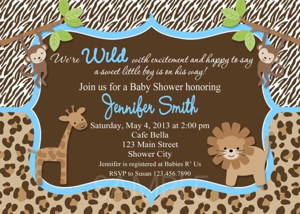 homemade safari baby shower invitations safari baby shower