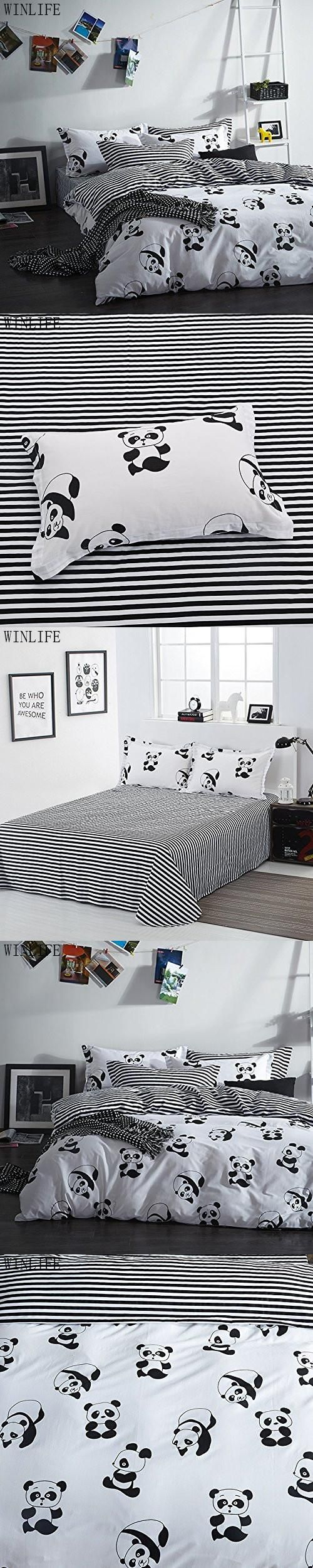 WINLIFE Black and White Duvet Cover Set 100% Cotton Black and White Panda Bedding