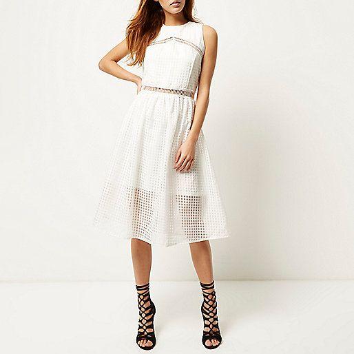 Witte mouwloze kanten jurk - jurken - sale - dames