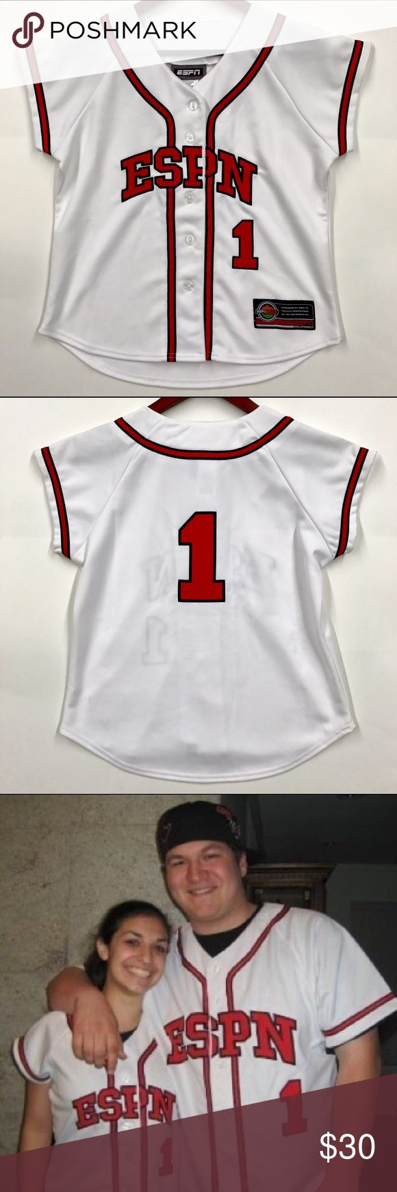 """Women's ESPN Baseball Jersey Super unique women's baseball jersey. Purchased at ESPN Zone in Anaheim, CA (Downtown Disney at the Disneyland Resort). Purchased roughly 10 years ago and was only worn once - and it's been hanging in my closet ever since...it's in EUC! Looks brand new. Approx. 24""""L. Disney Tops"""