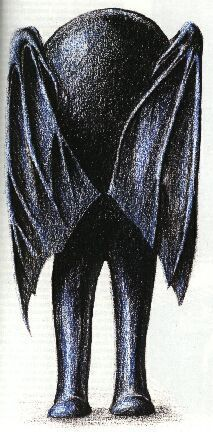 The Bat Beast of Kent. An erratic, shambling, quasi-humanoid figure which looked like a headless bat, approximately 5-feet tall, with large webbed feet and wings protruding from its back. Spotted in Sandling, Kent 1963