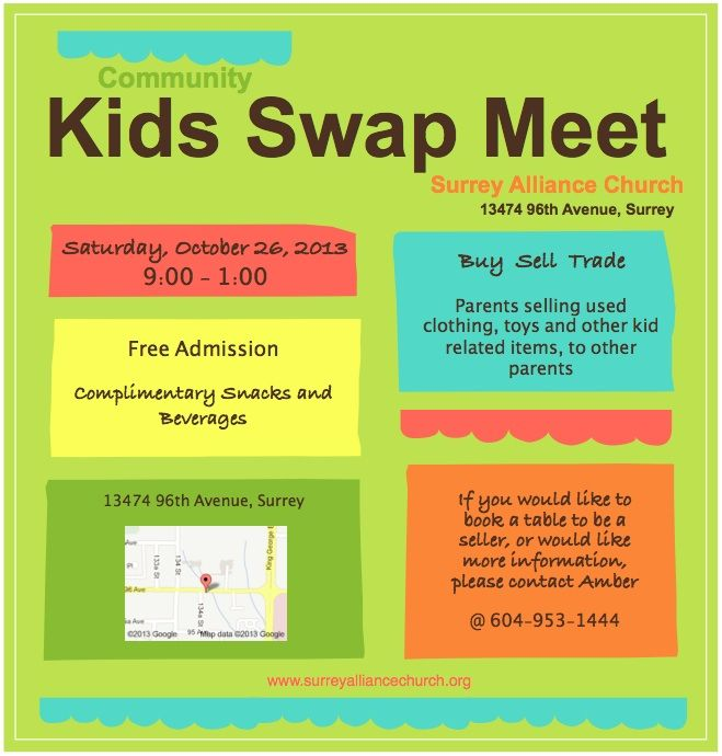 Our Kids Swap Meet was such a great success! Consider doing this for your church too! (We gave away gift certificates to teen moms in our area:) surreyalliancechurch.org