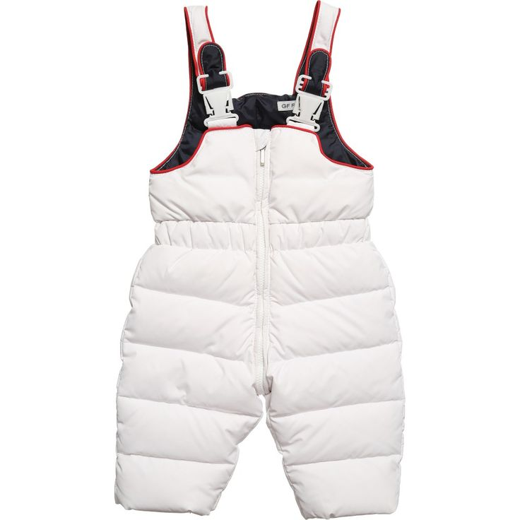 GF Ferre boys white down padded salopettes with a silky soft navy blue lining and red trims.