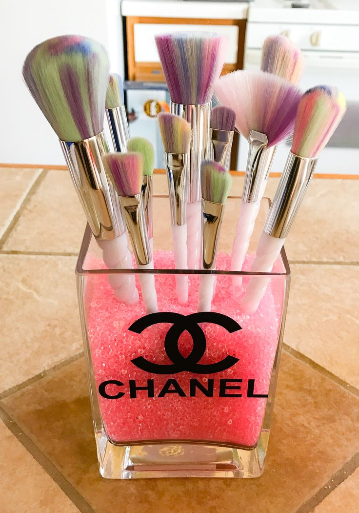 Chanel makeup brush holder with unicorn makeup brushes