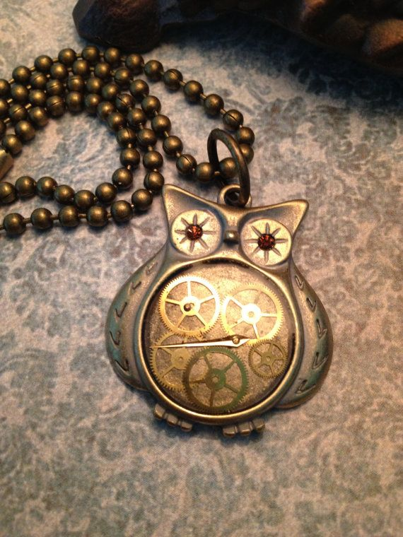 Steampunk Owl Necklace by OldFangledCreations on Etsy, $25.00