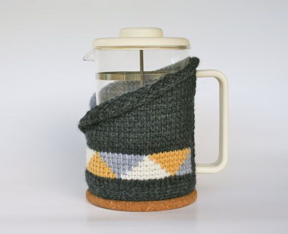 Coffee pot cosy in 100% wool  Tunisian crochet by KororaCrafters