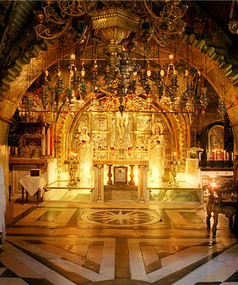 Believed to be the site of the cross of Jesus. Church Of The Holy Sepulcher, Jerusalem.Israel.