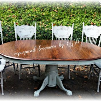 Distressed vintage solid oak repurposed upcycled country cottage, shabby chic, handpainted, chalk paint, dining table and 6 chairs