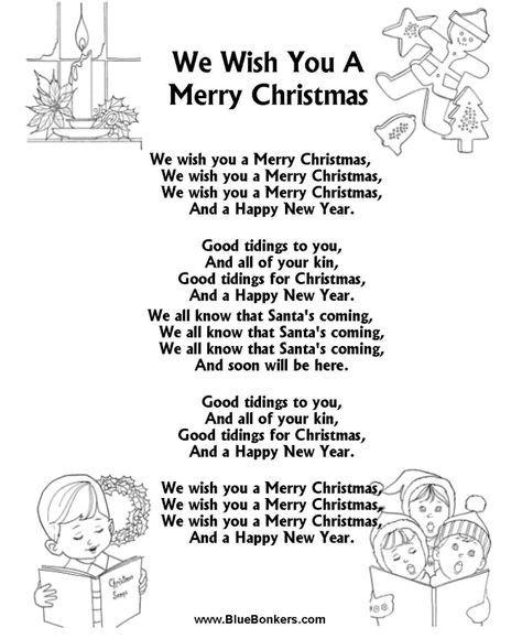 "Free Printable words for ""we wish you a merry christmas""   ... Sheets > Christmas Carol Lyrics > Title: We Wish You a Merry Christmas"