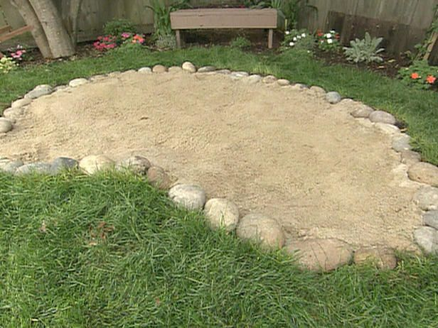 A sunken sand pit so that our dog can dig. Will hide some treats in here to encourage digging and smelling. Probably make the rocks a fair bit larger so that sand doesn't go flying everywhere.
